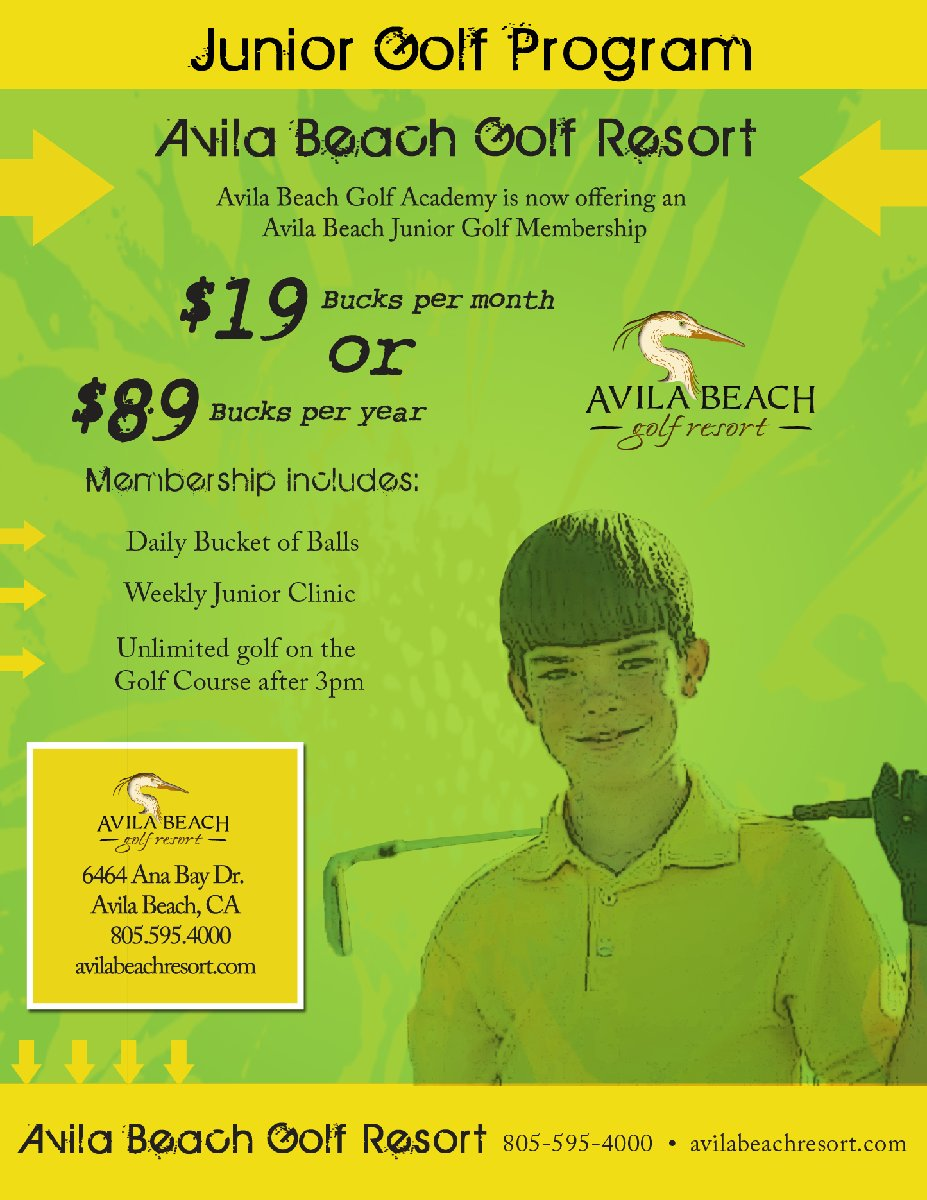 Flyer of the Junior Golf Program at Avila Beach Golf Resort