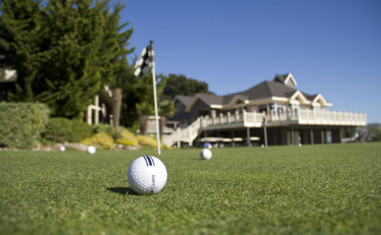 A ball sits on the greens for one of the holes on the course at Avila Beach Golf Resort